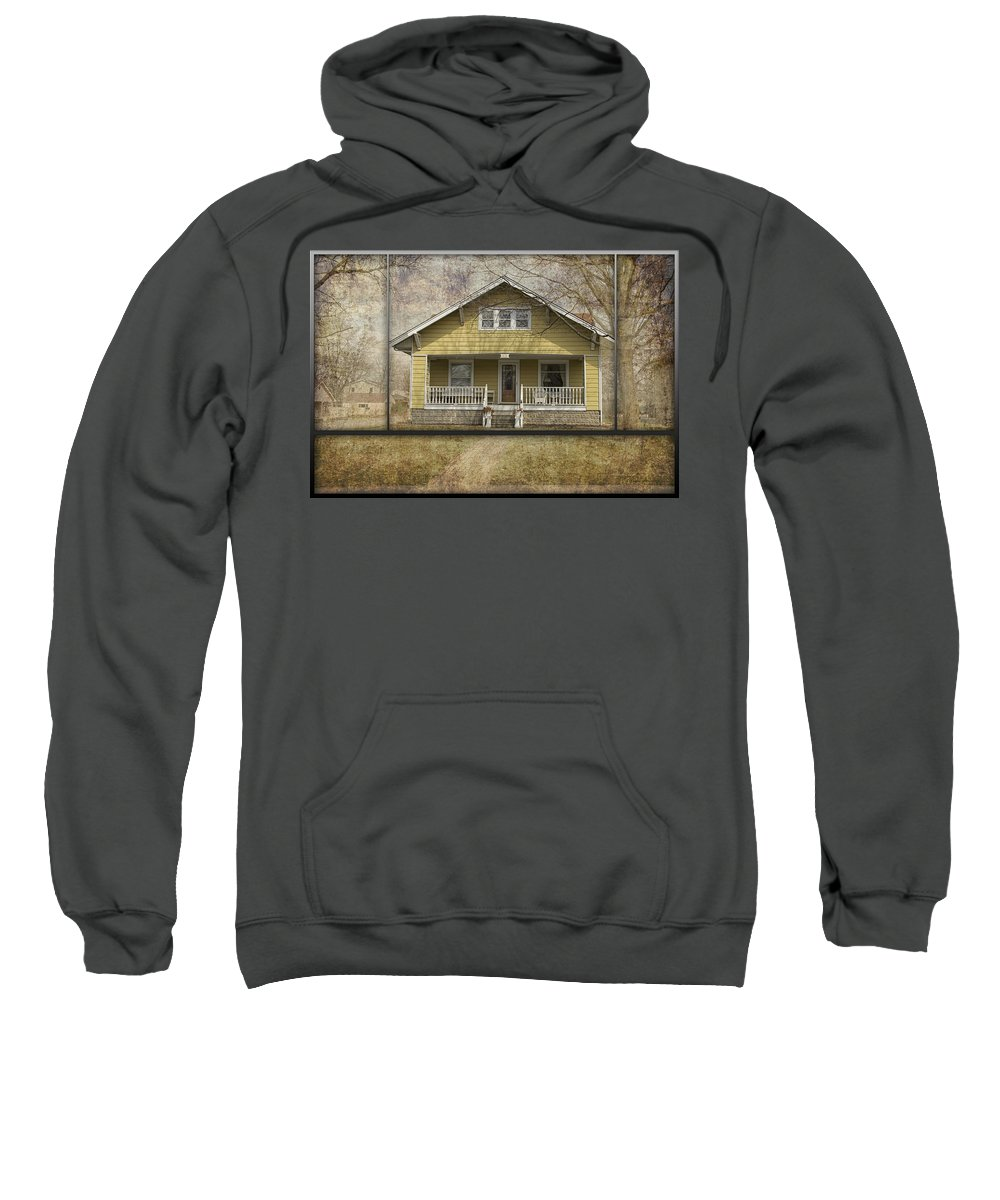 Front Porch Sweatshirt featuring the photograph Sample Paneled Yellow Bungalow by Thomas Woolworth