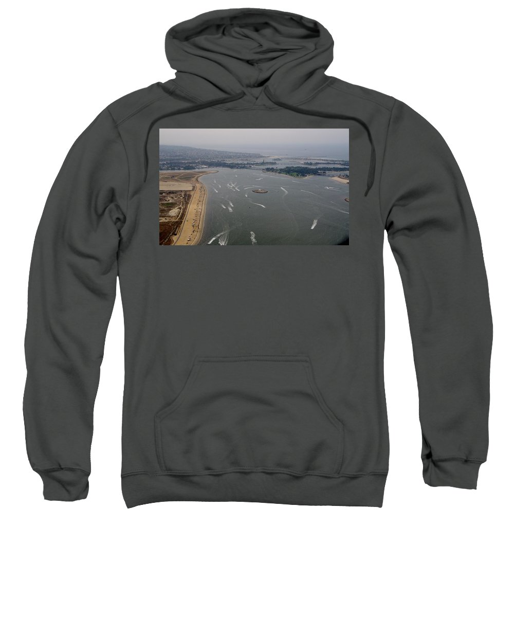 San Diego Sweatshirt featuring the photograph San Diego Mission Bay Aerial 4 by Phyllis Spoor