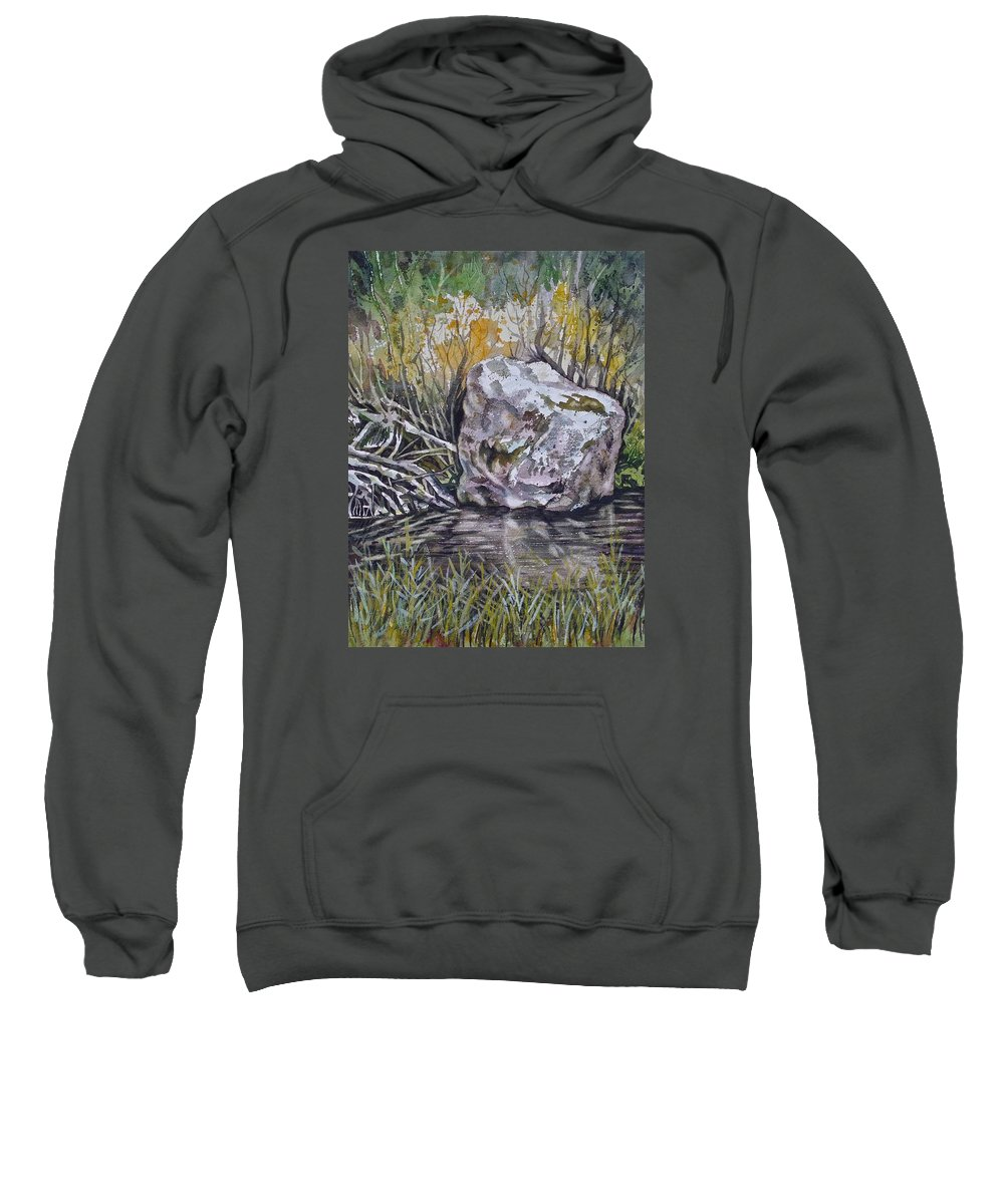 San Poil Wa Sweatshirt featuring the painting San Poil River Rock by Lynne Haines