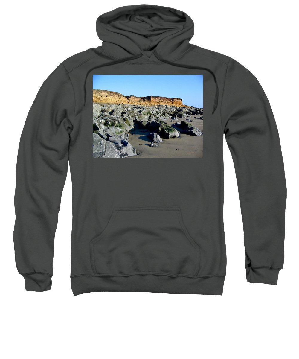 Cliffs Sweatshirt featuring the photograph San Simeon Rocky Beach by Denise Mazzocco
