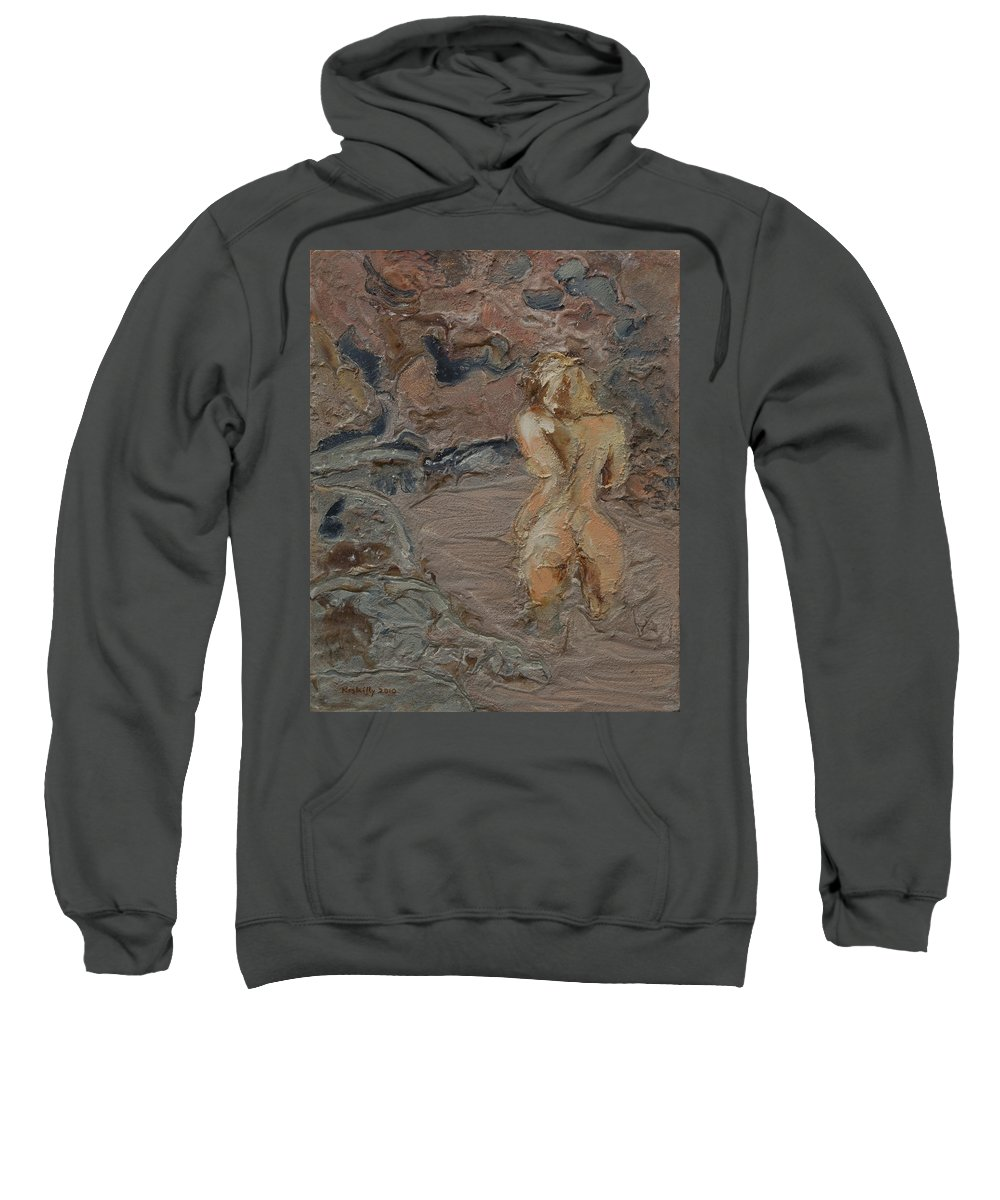 Naked Sweatshirt featuring the painting Sandy Pool. by Peregrine Roskilly