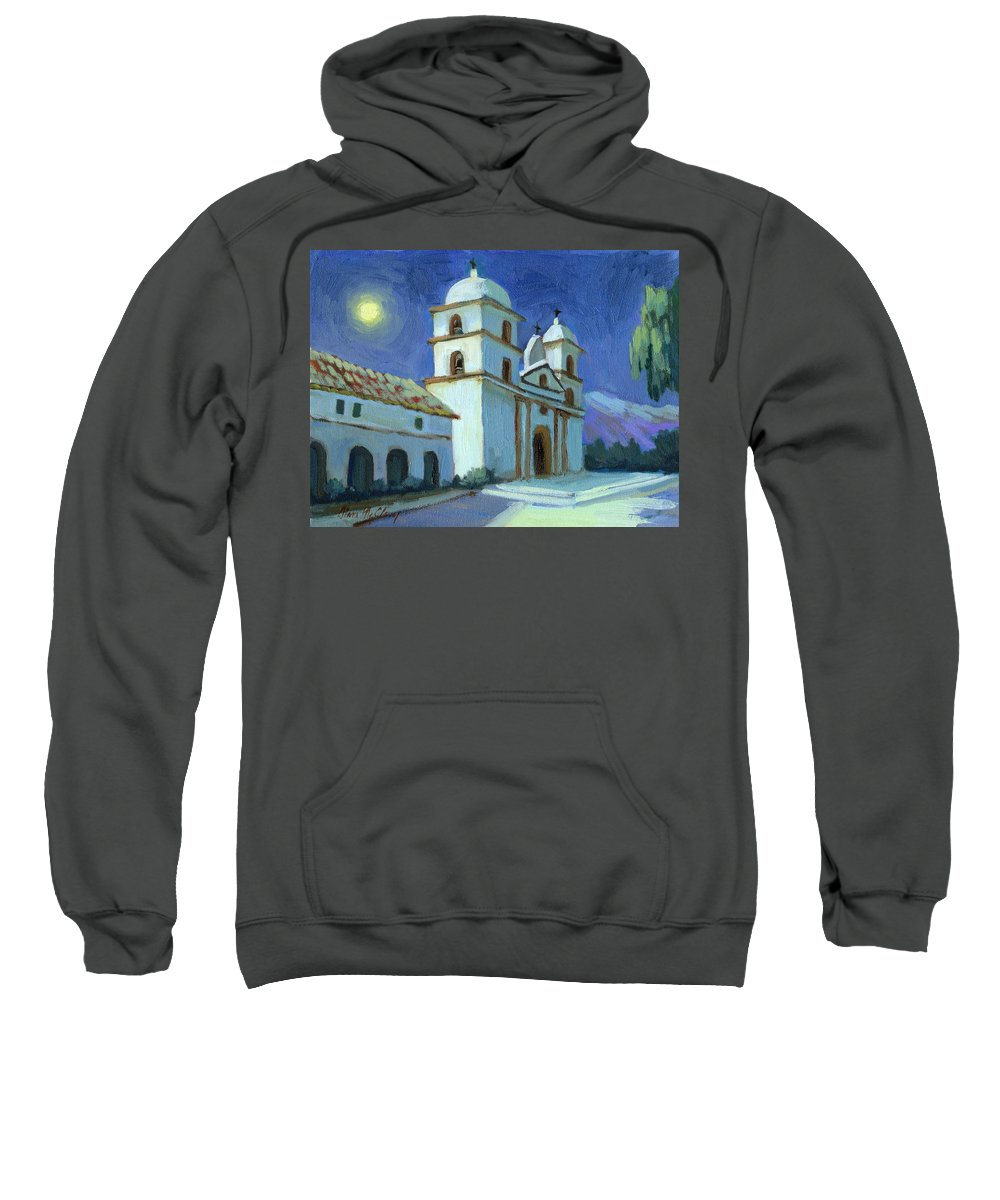 California Mission Sweatshirt featuring the painting Santa Barbara Mission Moonlight by Diane McClary