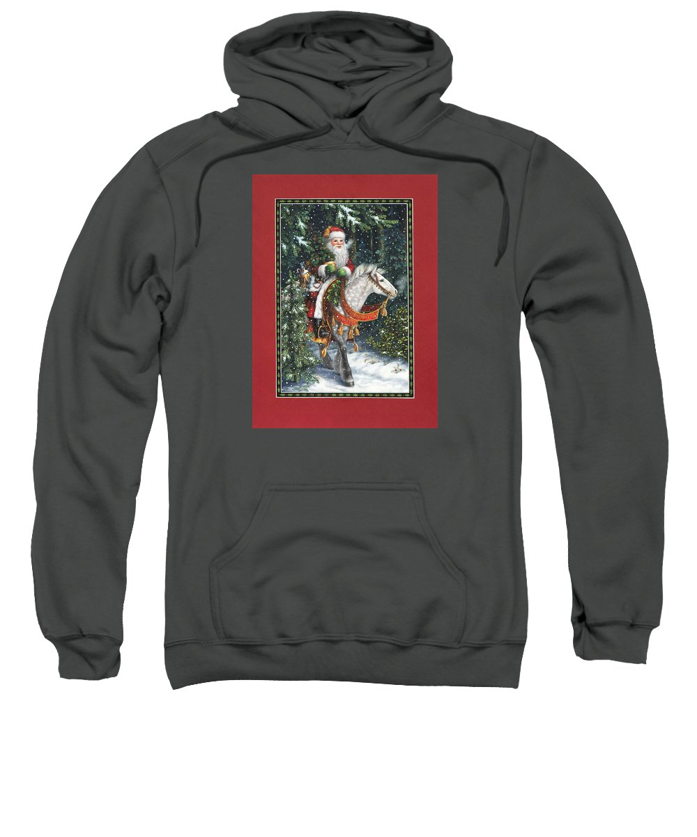 Santa Claus Sweatshirt featuring the painting Santa Of The Northern Forest by Lynn Bywaters