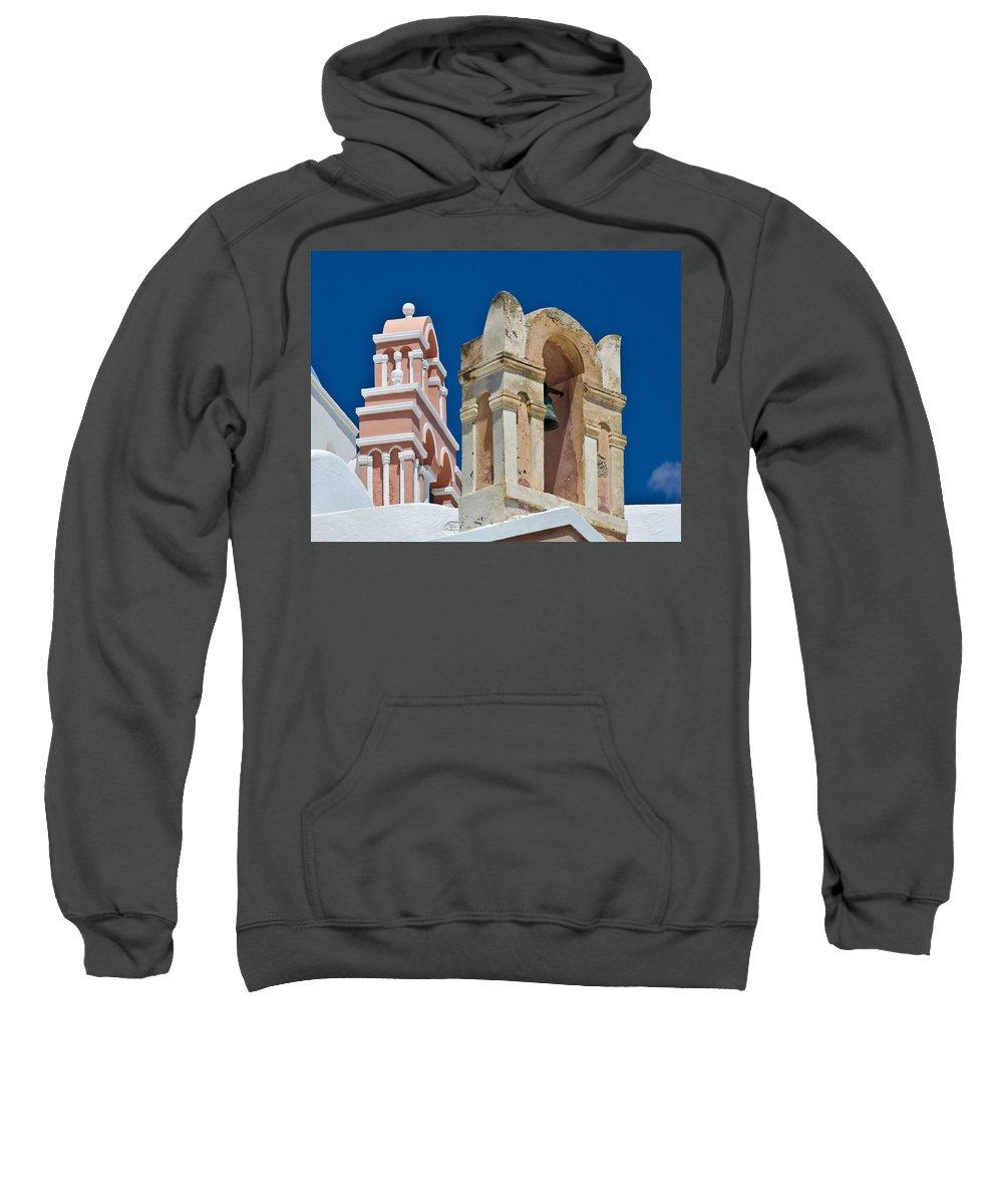 Island Sweatshirt featuring the photograph Santorini Bell Towers by Jack Daulton