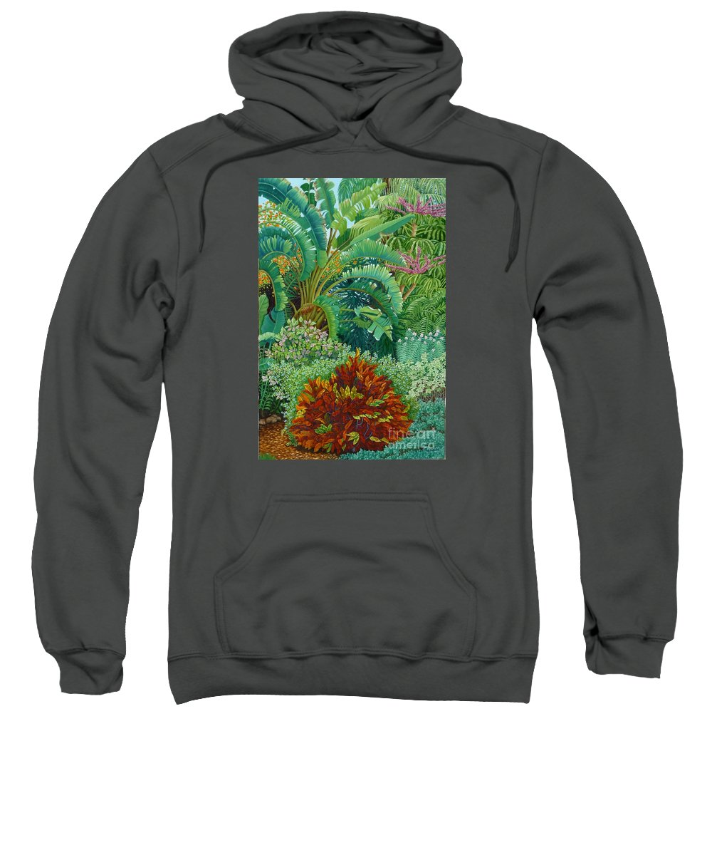 Garden Sweatshirt featuring the painting Sarasota Garden by Beverly Theriault