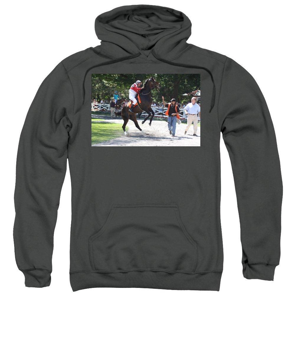 Saratoga Race Track Sweatshirt featuring the photograph Saratoga Race Track Paddock by George Fredericks
