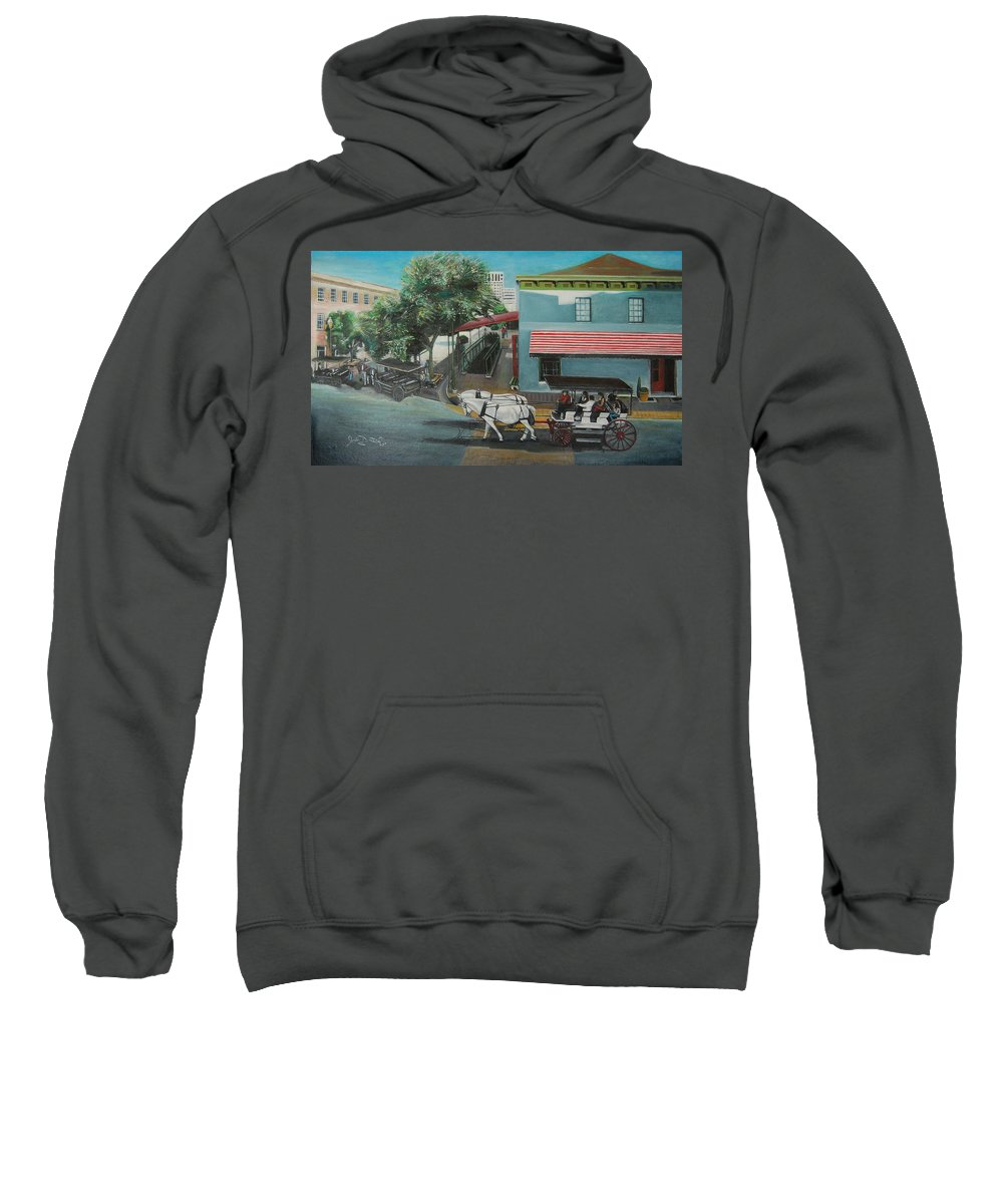 Sweatshirt featuring the painting Savannah City Market by Jude Darrien