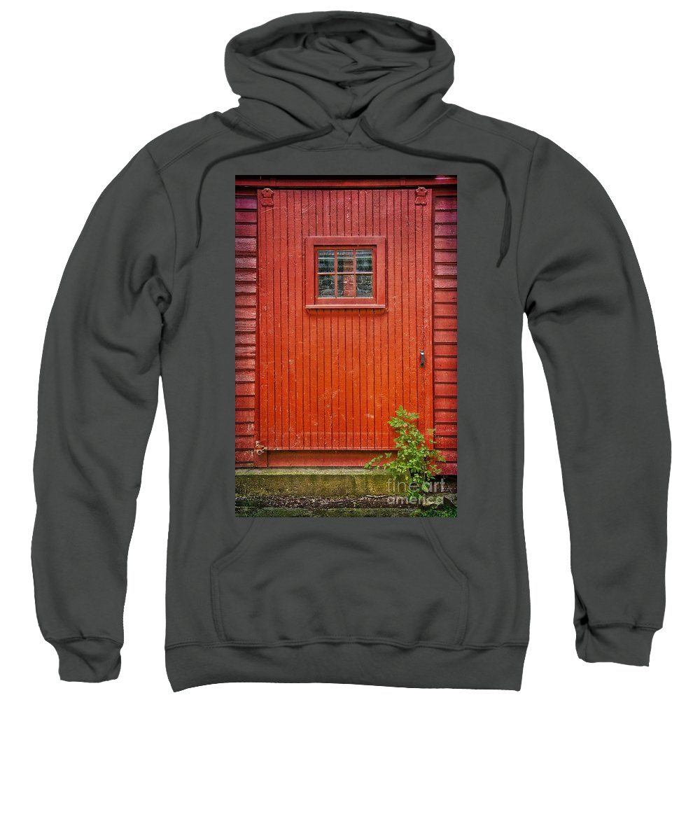 Red Sweatshirt featuring the photograph Sawmill Door by Debra Fedchin