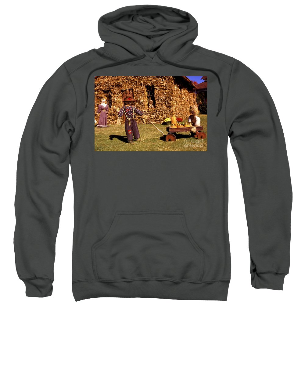 Halloween Sweatshirt featuring the photograph Scarecrows Play Too by Paul W Faust - Impressions of Light