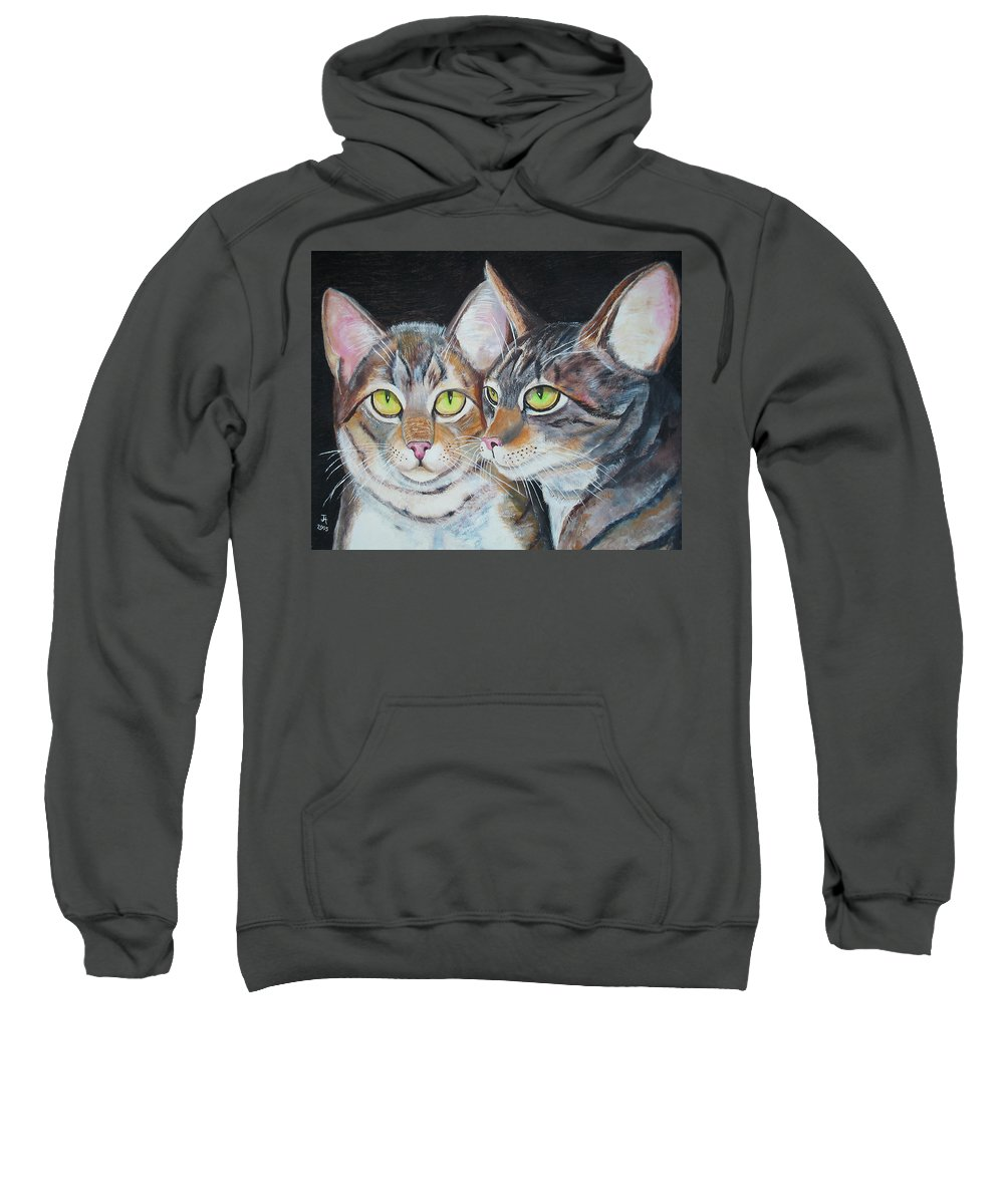 Cats Sweatshirt featuring the painting Scheming Cats by Thomas J Herring