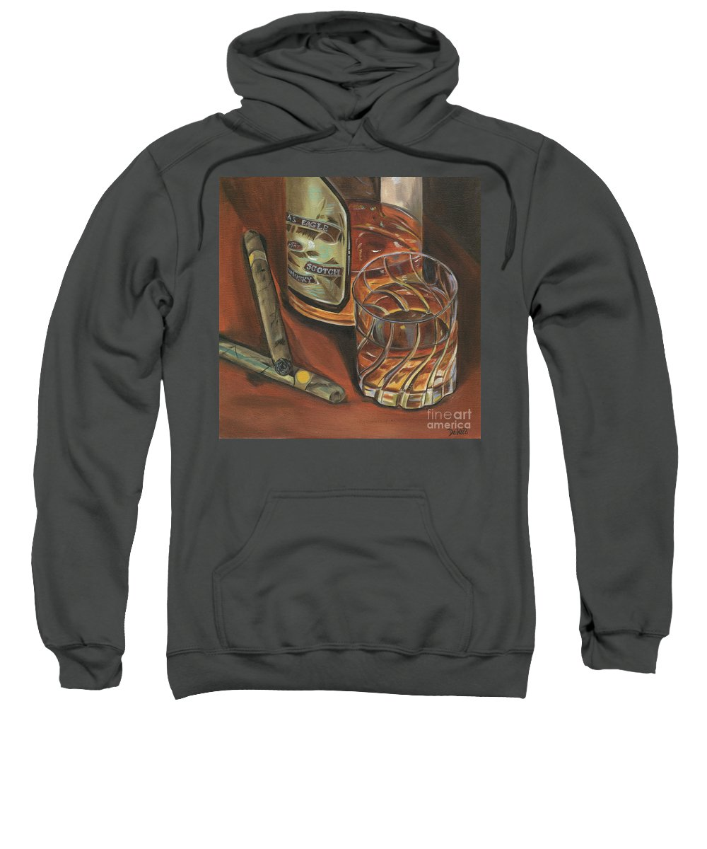 Scotch Sweatshirt featuring the painting Scotch And Cigars 3 by Debbie DeWitt