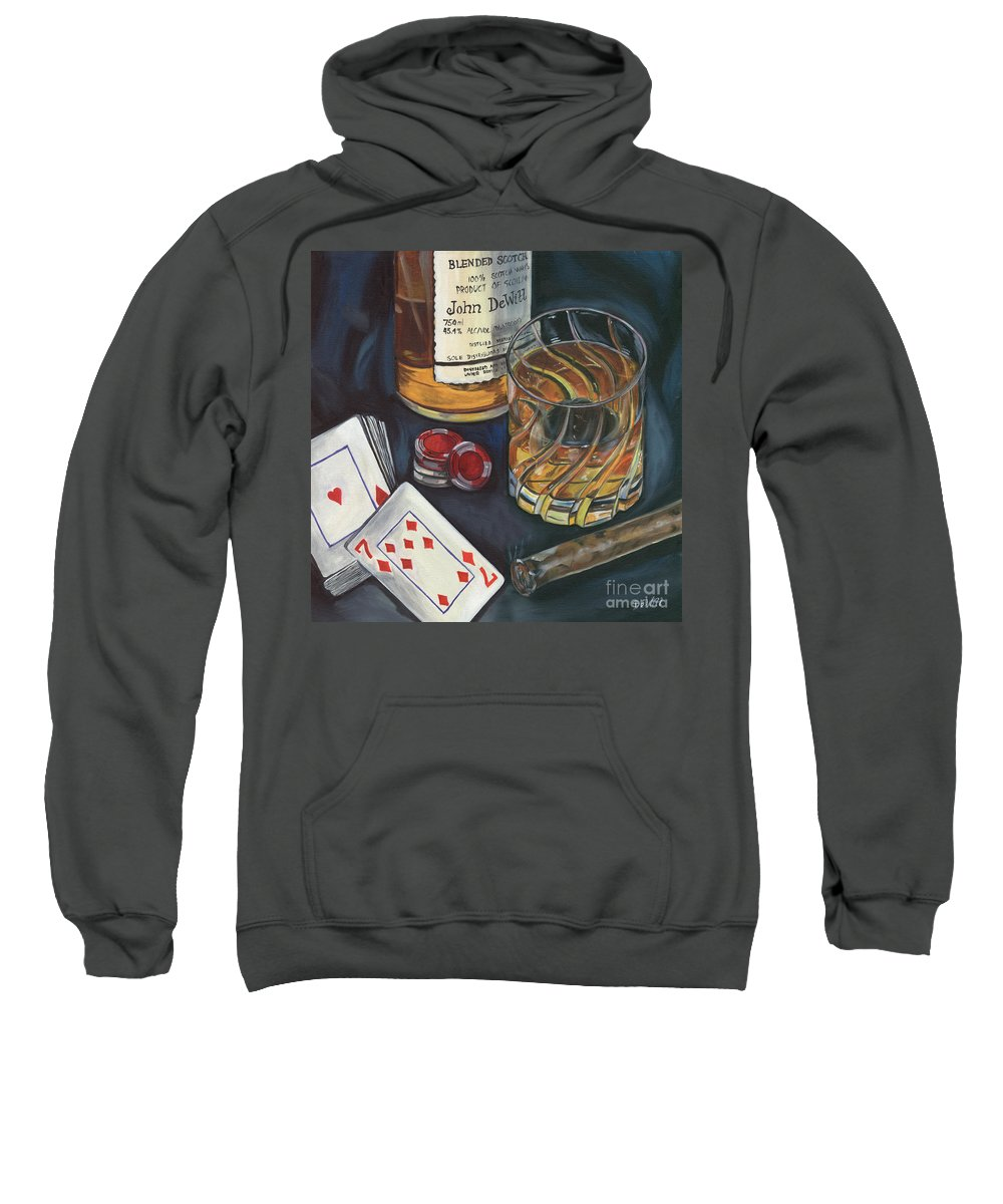 Scotch Sweatshirt featuring the painting Scotch And Cigars 4 by Debbie DeWitt
