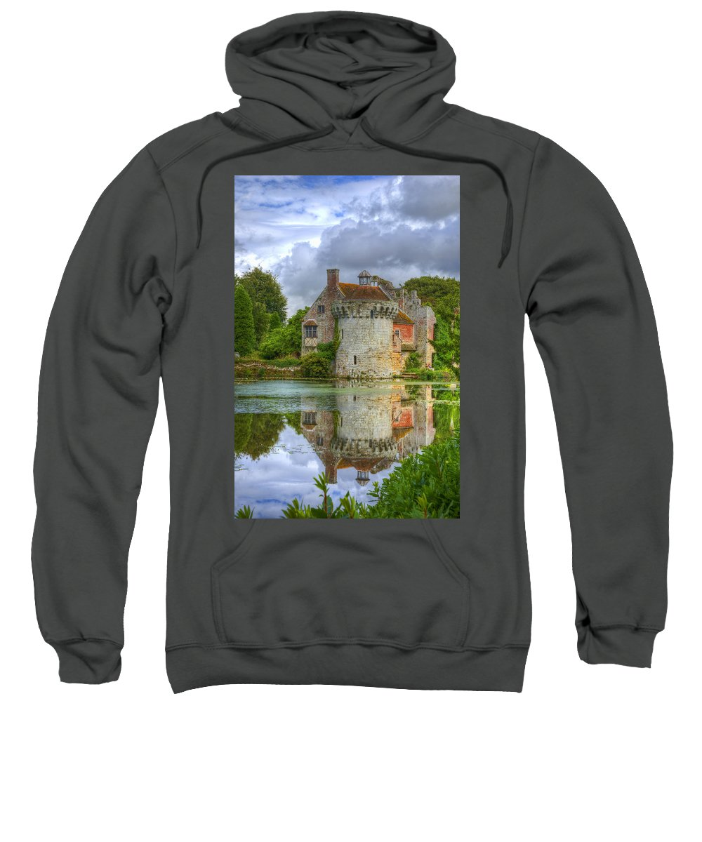 Architectural Sweatshirt featuring the photograph Scotney Castle Reflections by Chris Thaxter