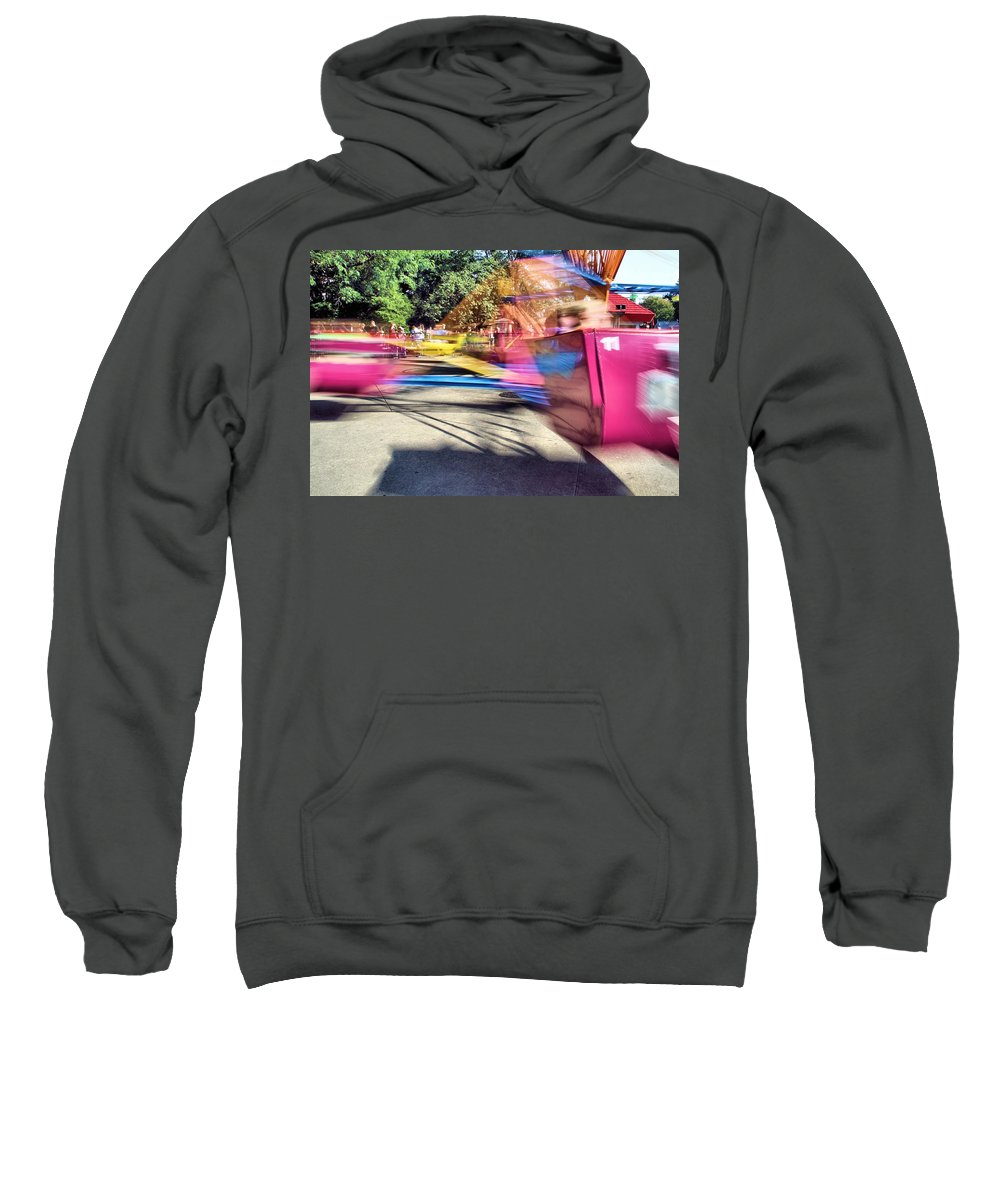 Cedar Point Sweatshirt featuring the photograph Scrambler Blur by Dan Sproul