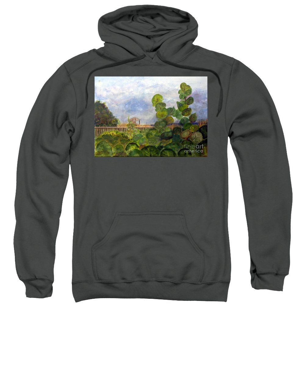 Artist Sweatshirt featuring the painting Sea Grapes At Atlantic Dunes by Donna Walsh