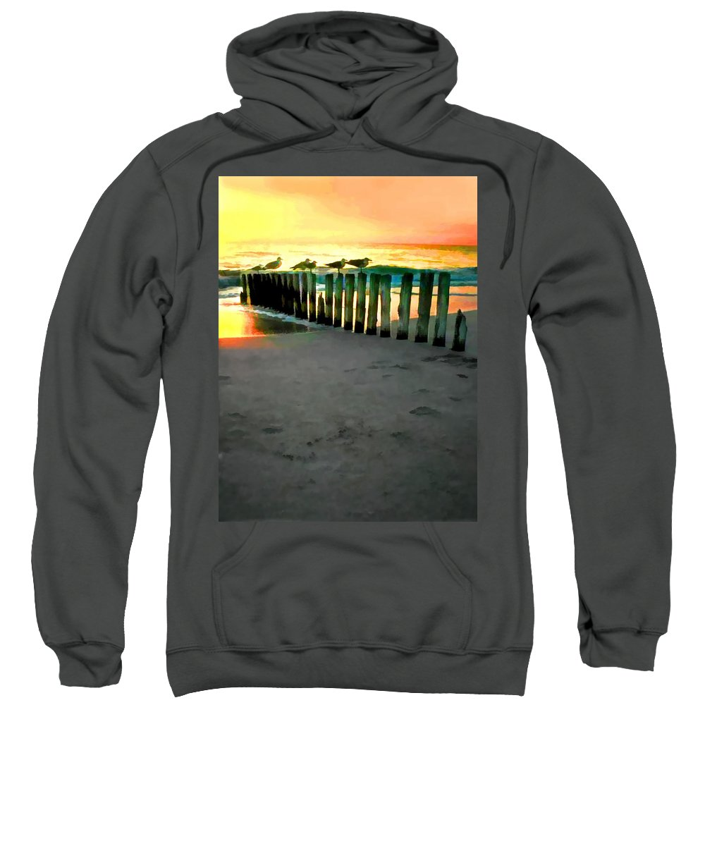 Ocean Sweatshirt featuring the painting Sea Gulls On Pilings At Sunset by Elaine Plesser