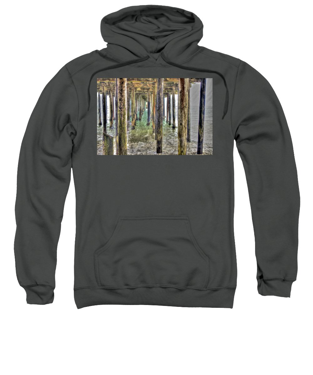 Seacliff Sweatshirt featuring the photograph Seacliff Pier 2 by SC Heffner