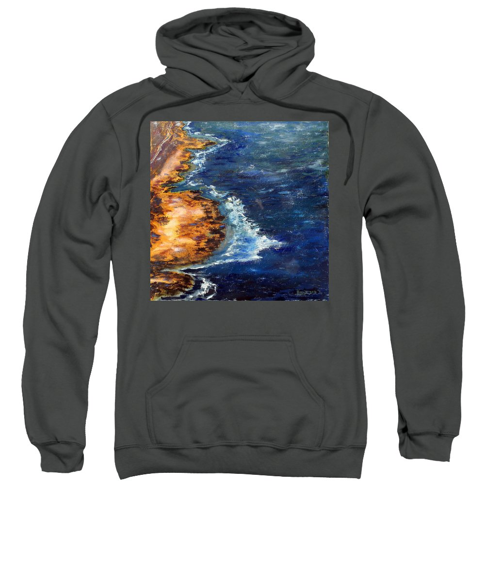 Seascape Sweatshirt featuring the painting Seascape Series 5 by Uma Krishnamoorthy