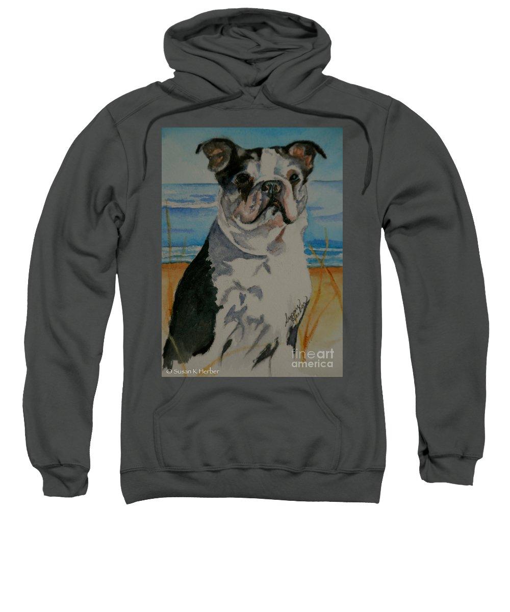 Animal Sweatshirt featuring the painting Seaside Harold by Susan Herber