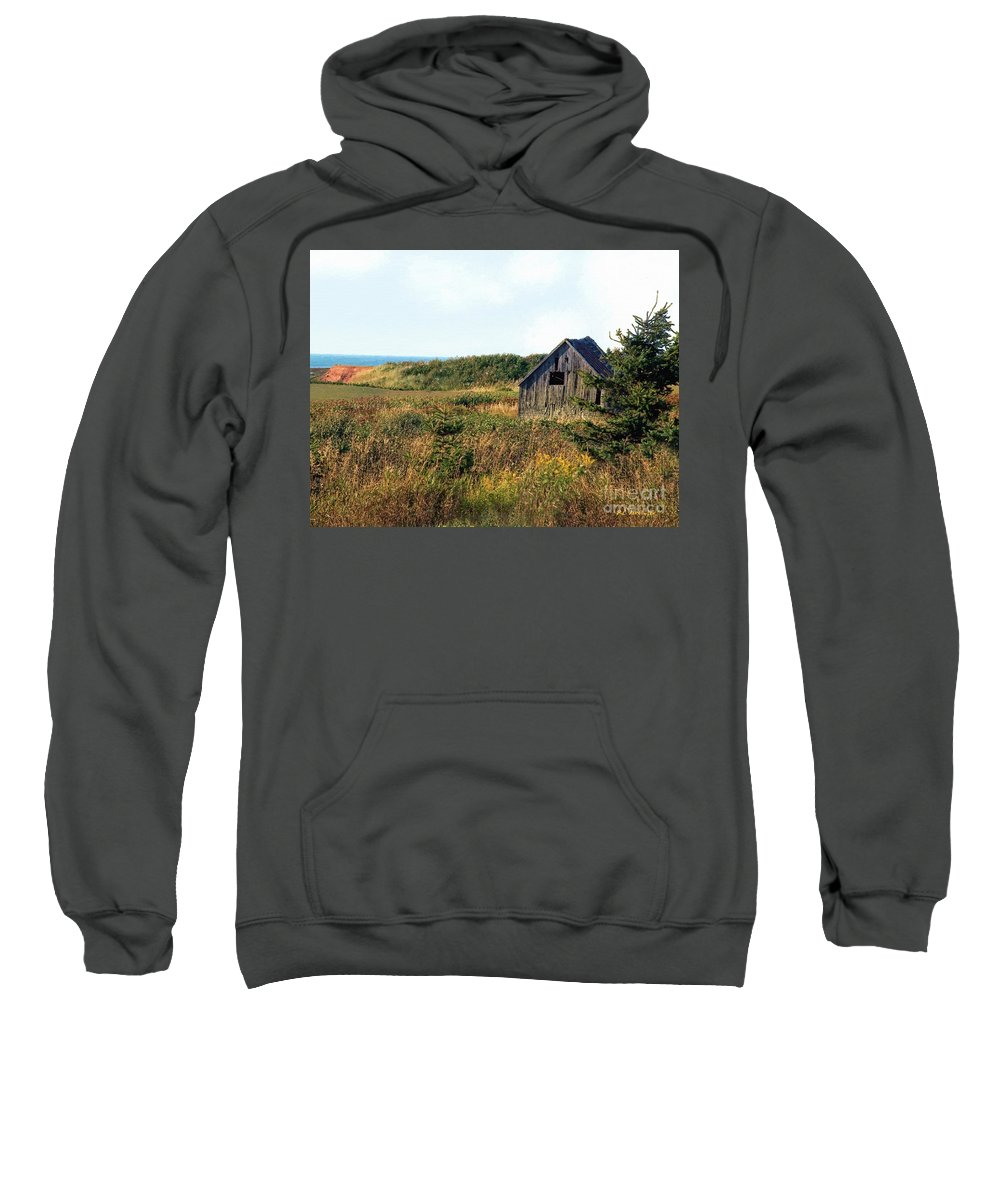 Landscape Sweatshirt featuring the painting Seaside Shed - September by RC DeWinter