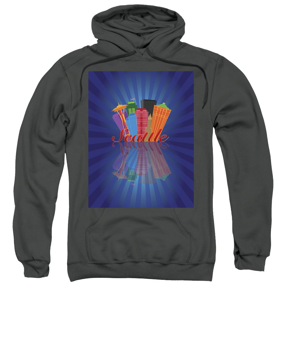 Seattle Sweatshirt featuring the photograph Seattle Abstract Skyline Reflection Background Illustration by Jit Lim