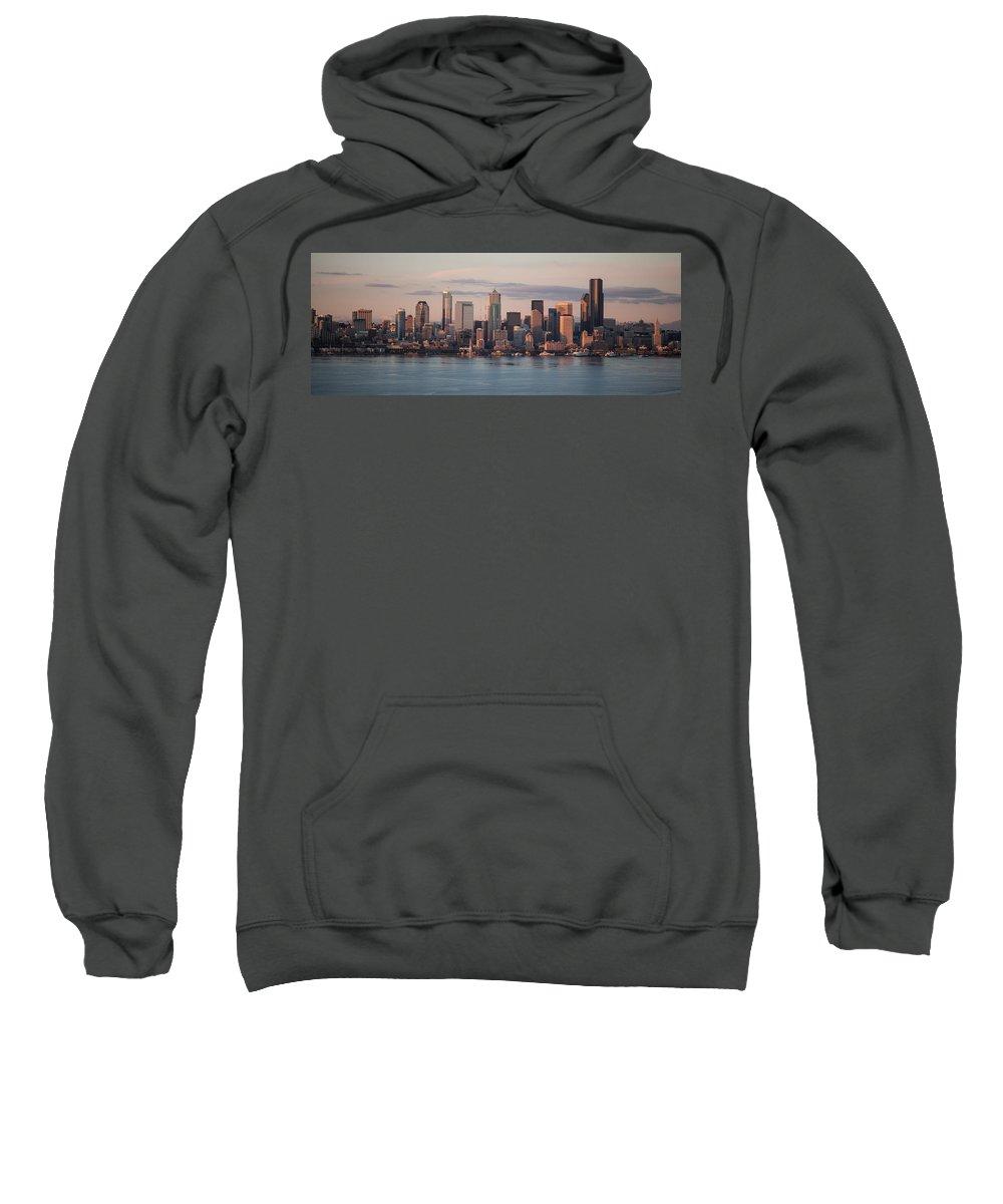 Seattle Sweatshirt featuring the photograph Seattle Dusk Skyline by Mike Reid