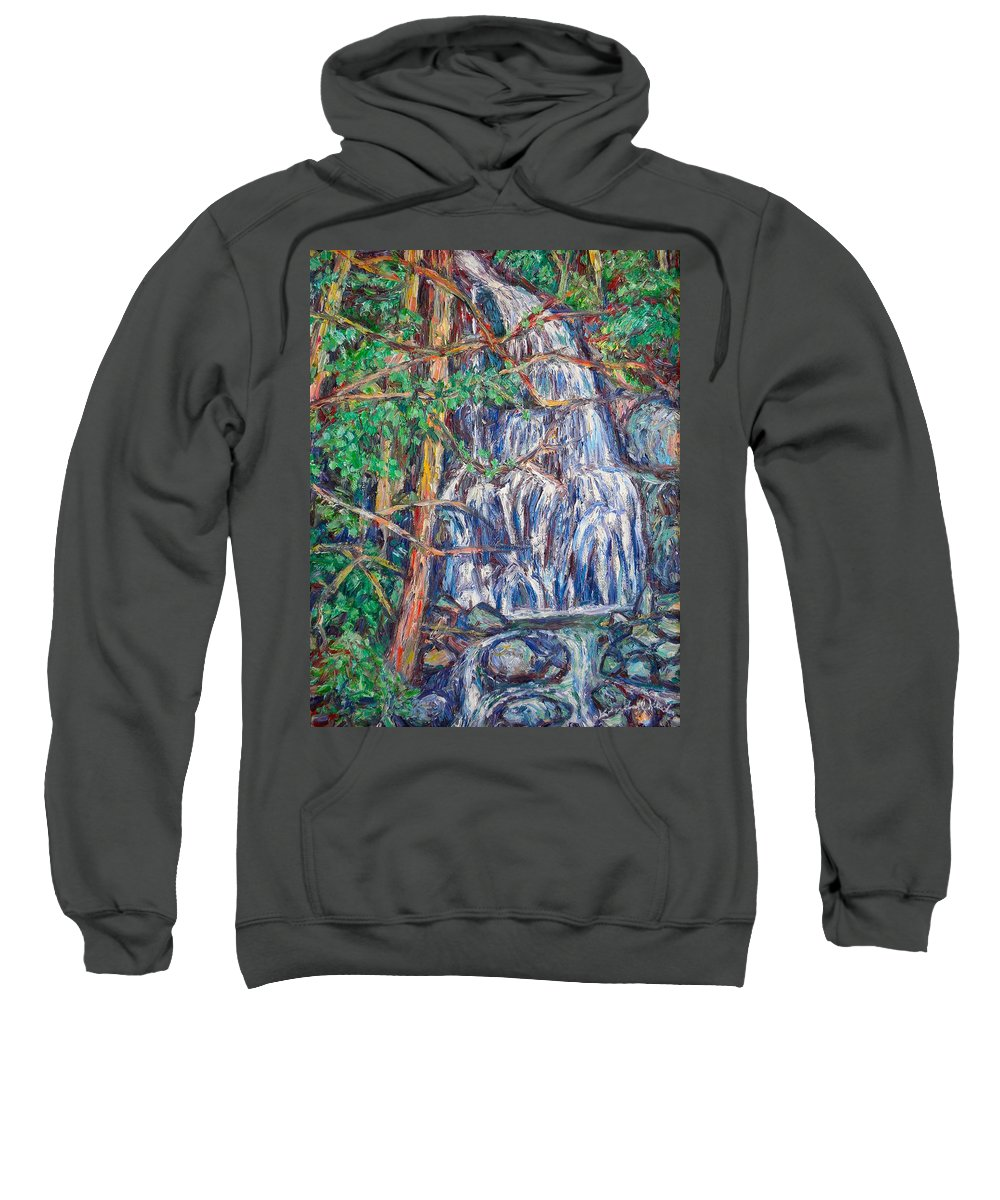 Waterfall Sweatshirt featuring the painting Secluded Waterfall by Kendall Kessler