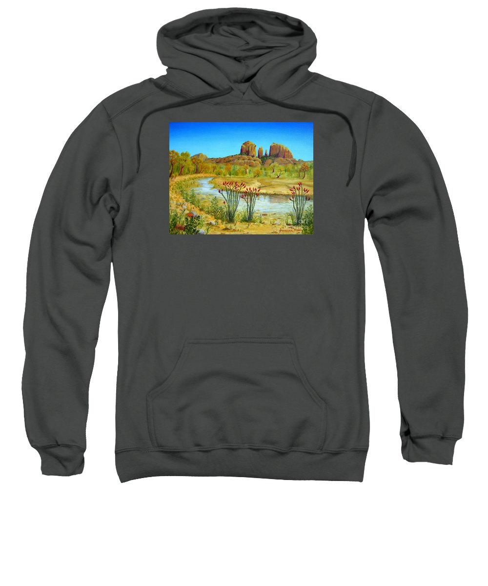 Sedona Sweatshirt featuring the painting Sedona Arizona by Jerome Stumphauzer