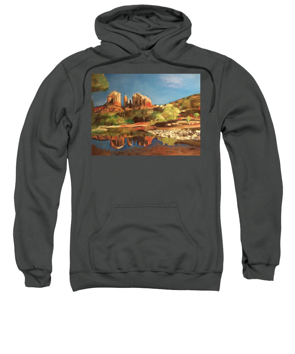 Sweatshirt featuring the painting Sedona Cathedral Rock by Jude Darrien