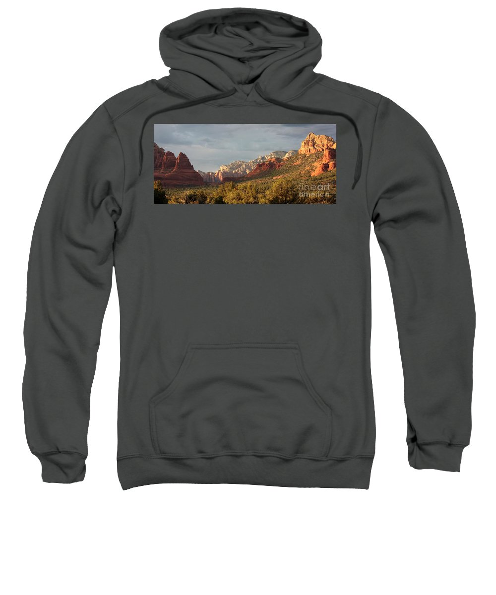 Sedona Sweatshirt featuring the photograph Sedona Sunshine Panorama by Carol Groenen