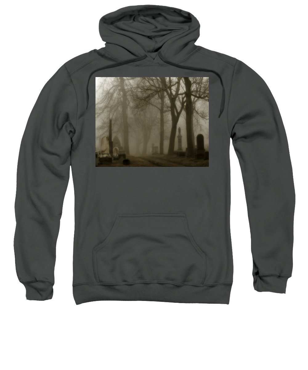 Fog Sweatshirt featuring the photograph A Graveyard Seeped In Fog by Gothicrow Images
