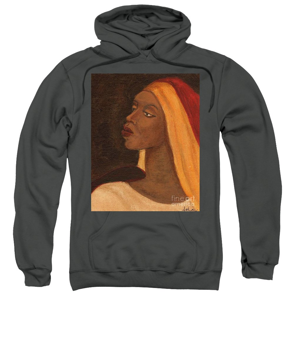 An African Woman Sweatshirt featuring the painting Semi-abstract- Woman by Asha Sudhaker Shenoy
