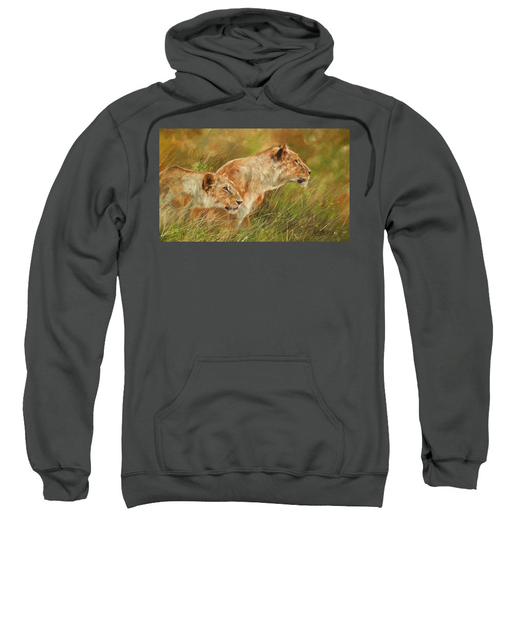 Lions Sweatshirt featuring the painting Serengeti Sisters by David Stribbling