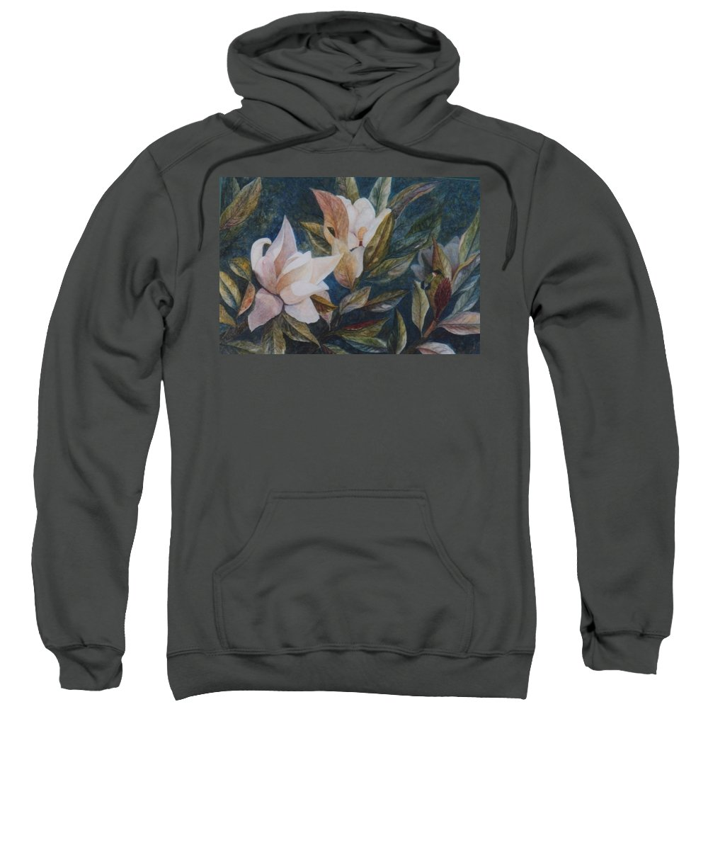Magnolias; Humming Bird Sweatshirt featuring the painting Serenity by Ben Kiger