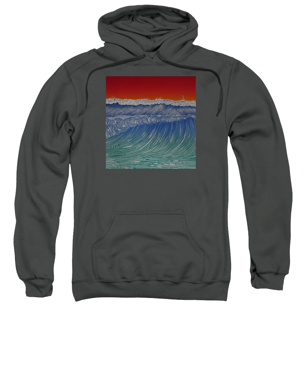 Seascape 2013 Sweatshirt featuring the mixed media Series Of Waves 2 by Jarle Rosseland