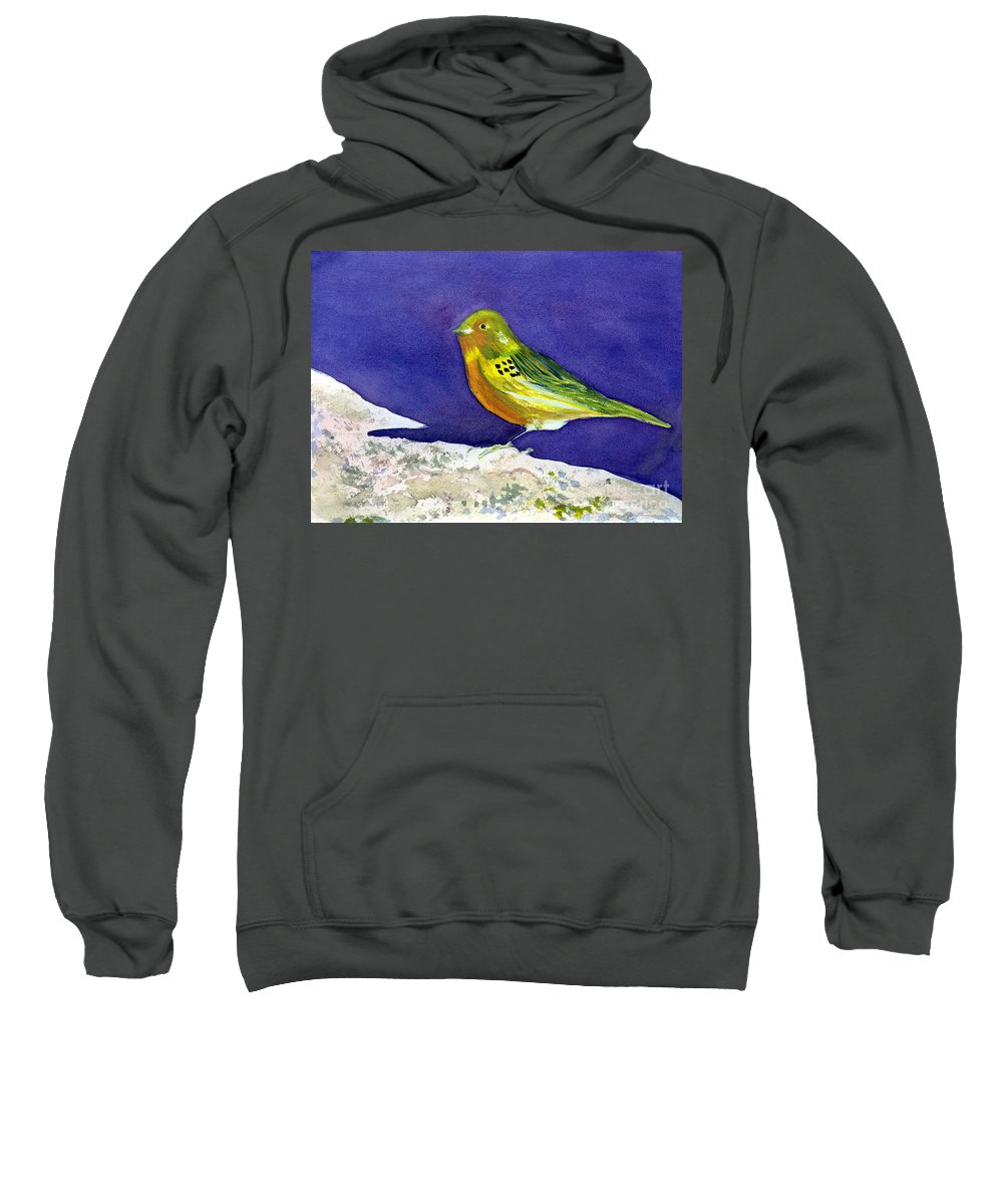 Animal Sweatshirt featuring the painting Serinus Canaria Aka The Canary by Donna Walsh