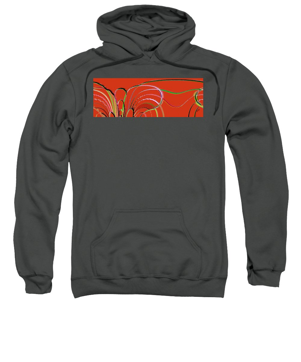 Red Abstract Sweatshirt featuring the digital art Serpentine by Ben and Raisa Gertsberg