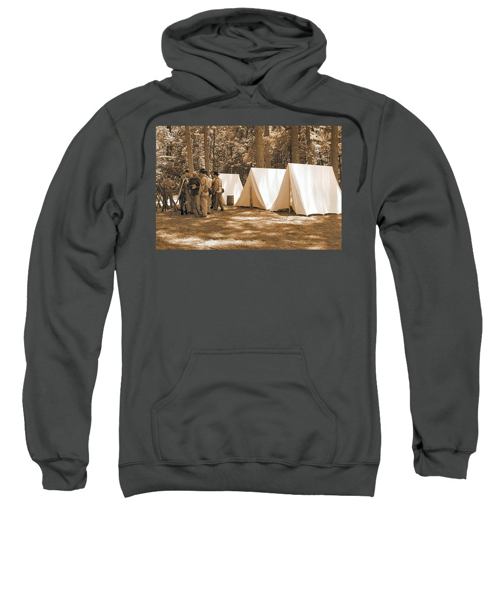 Bennett Sweatshirt featuring the photograph Settin Up Camp by Nadine Lewis