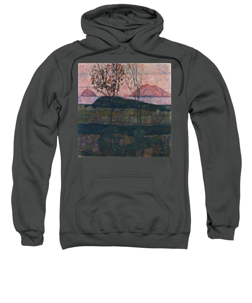 Egon Schiele Sweatshirt featuring the painting Setting Sun by Egon Schiele