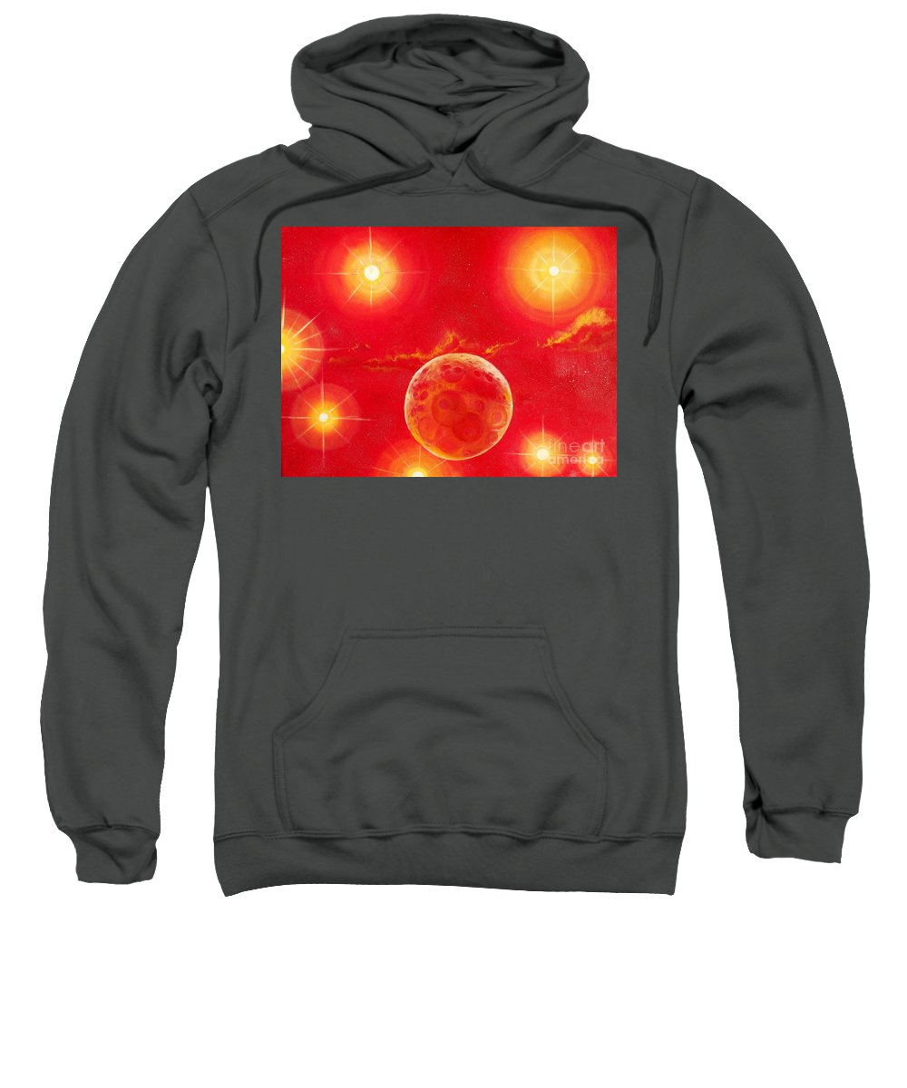 Planet Sweatshirt featuring the painting Seven Suns by Murphy Elliott