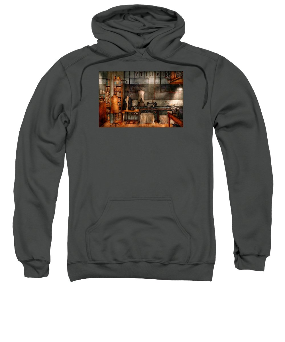 Seamstress Sweatshirt featuring the photograph Sewing - Industrial - Quality Linens by Mike Savad