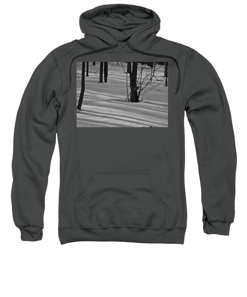 Snow Sweatshirt featuring the mixed media Shadows In Boyertown Park by Trish Tritz