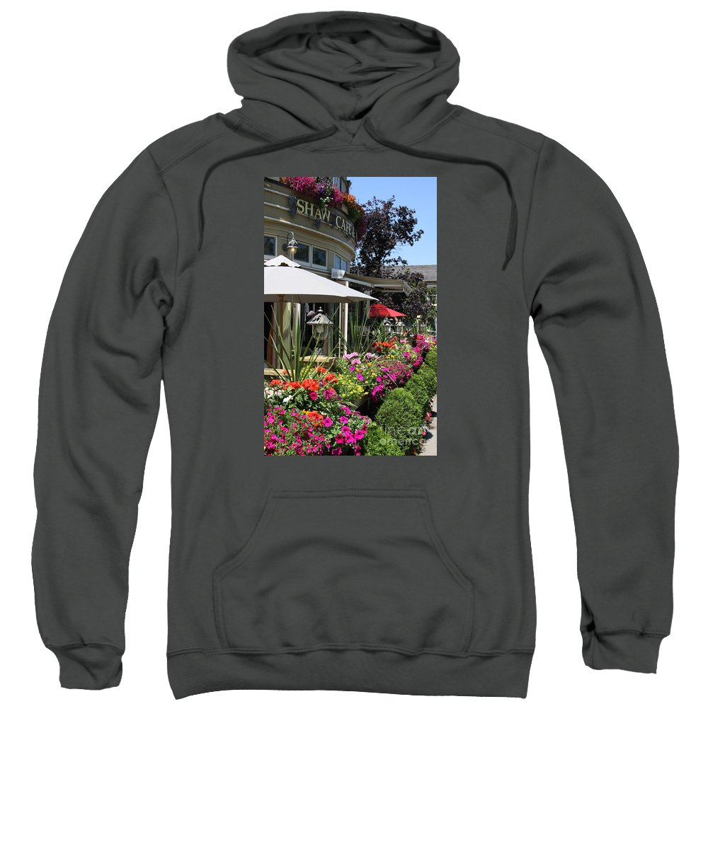 George Bernhard Shaw Sweatshirt featuring the photograph Shaw Cafe And Wine Bar - Niagara On The Lake by Christiane Schulze Art And Photography