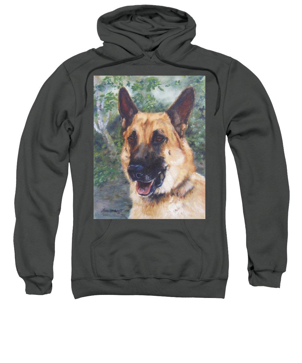German Shepard Sweatshirt featuring the painting Shep by Lori Brackett