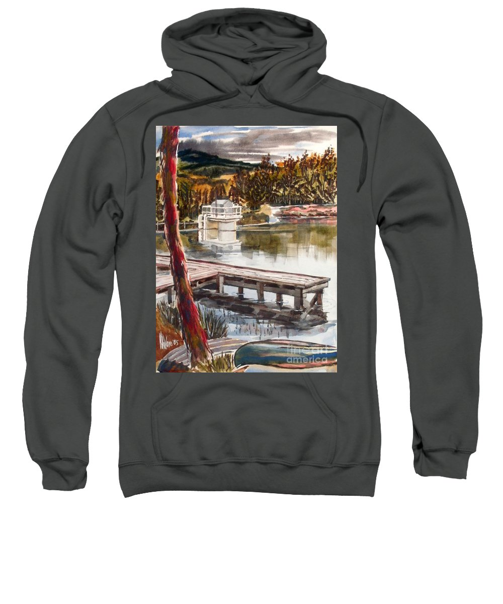 Shepherd Mountain Lake In Twilight Sweatshirt featuring the painting Shepherd Mountain Lake In Twilight by Kip DeVore