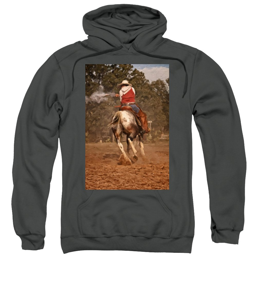 Western Sweatshirt featuring the digital art Shooter by Jack Milchanowski