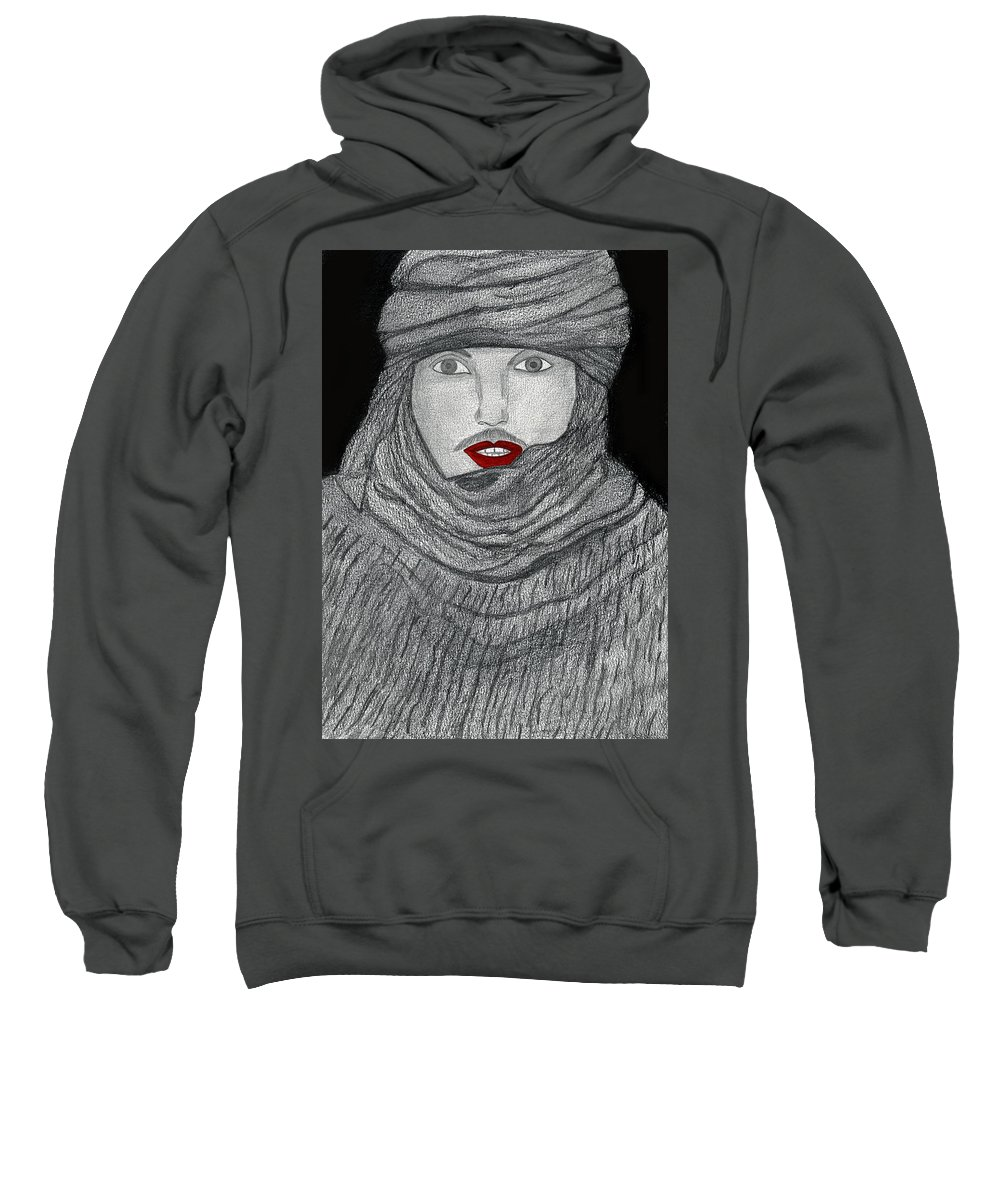 Face Sweatshirt featuring the drawing Shrouded by Alex Art and Photo