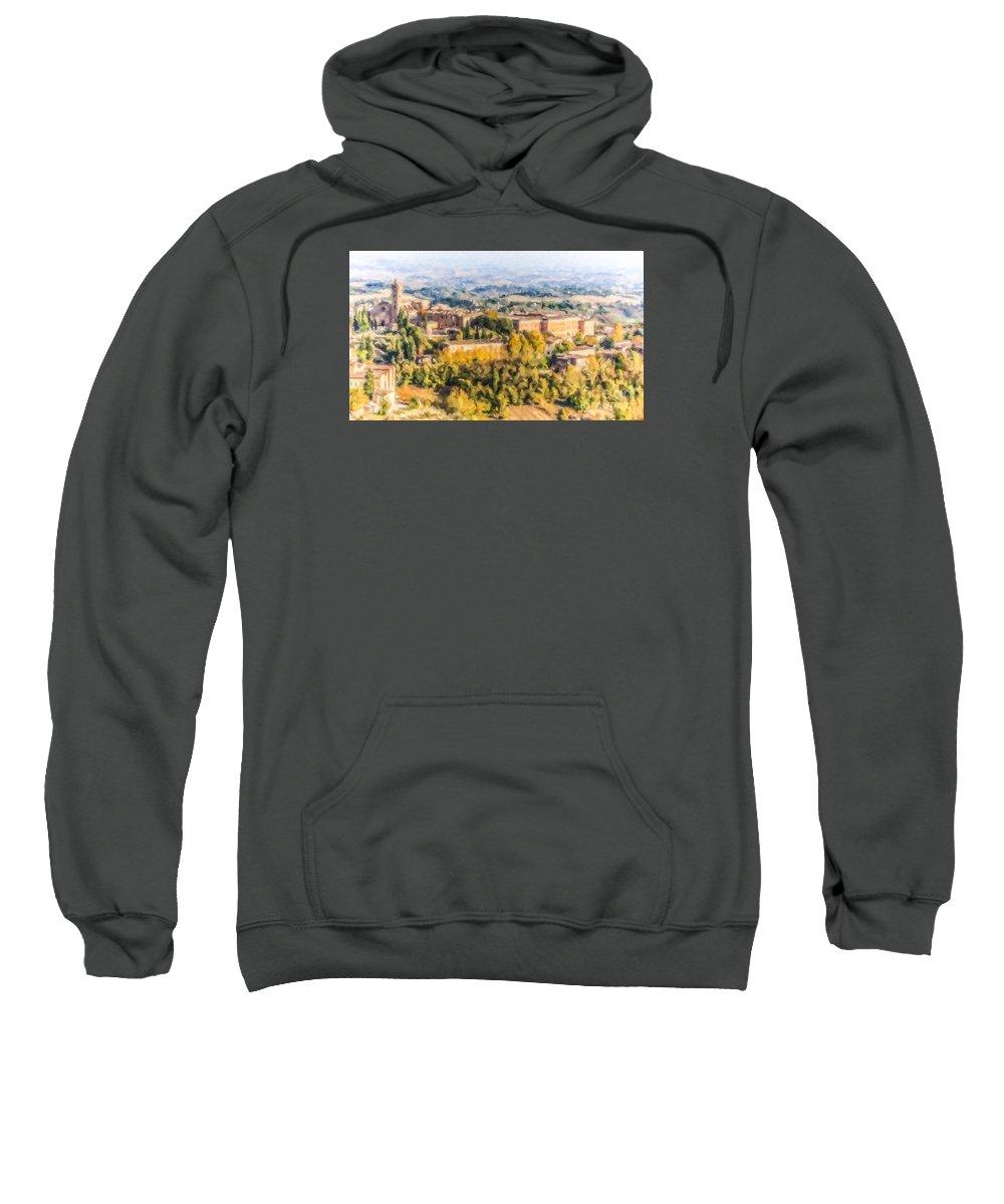 Basilica Santa Maria Dei Servi Sweatshirt featuring the digital art Siena Countryside by Liz Leyden