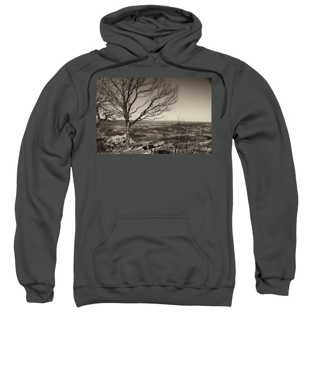 Black And White Sweatshirt featuring the photograph Silhouetted Above A Flat Earth by Jay Ressler