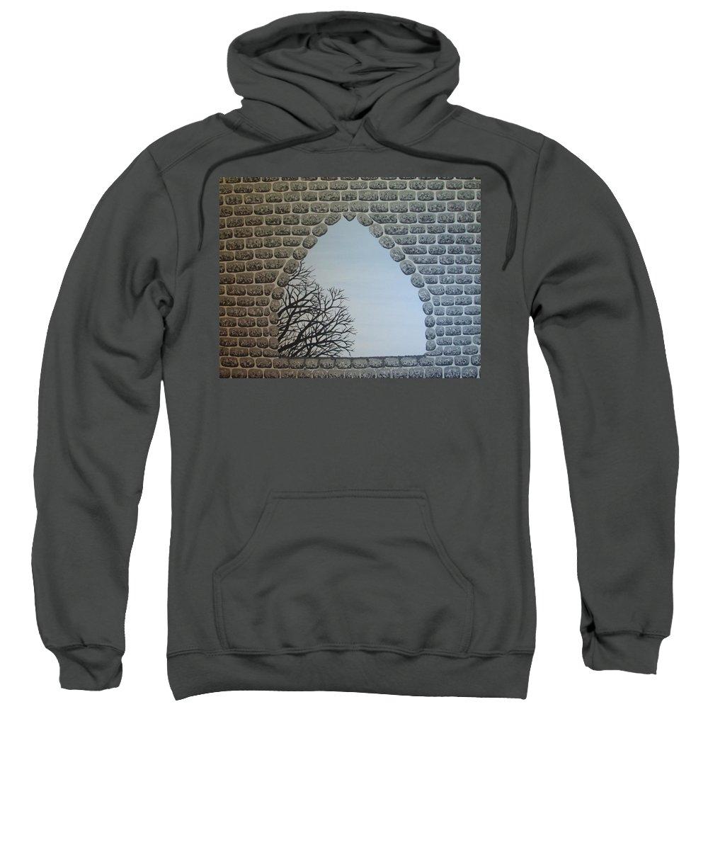 Windows Sweatshirt featuring the painting Silverstonecastle2 by Darla Coffey Gojcz